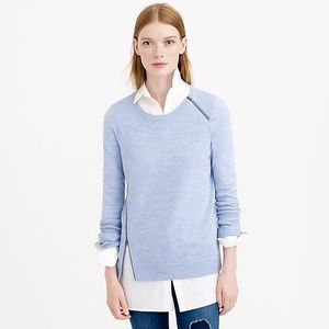 J CREW MERINO WOOL ASYMETRICAL ZIP SWEATER